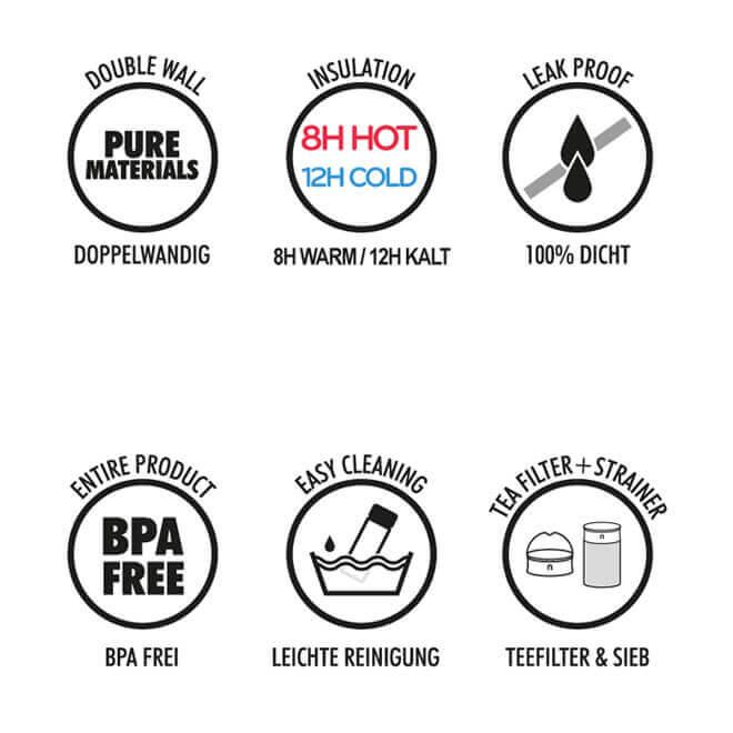 Teebecher Vorteile, 600ml doppelwandig, dicht, bpa-frei, Tee Sieb, Teefilter, Deckel